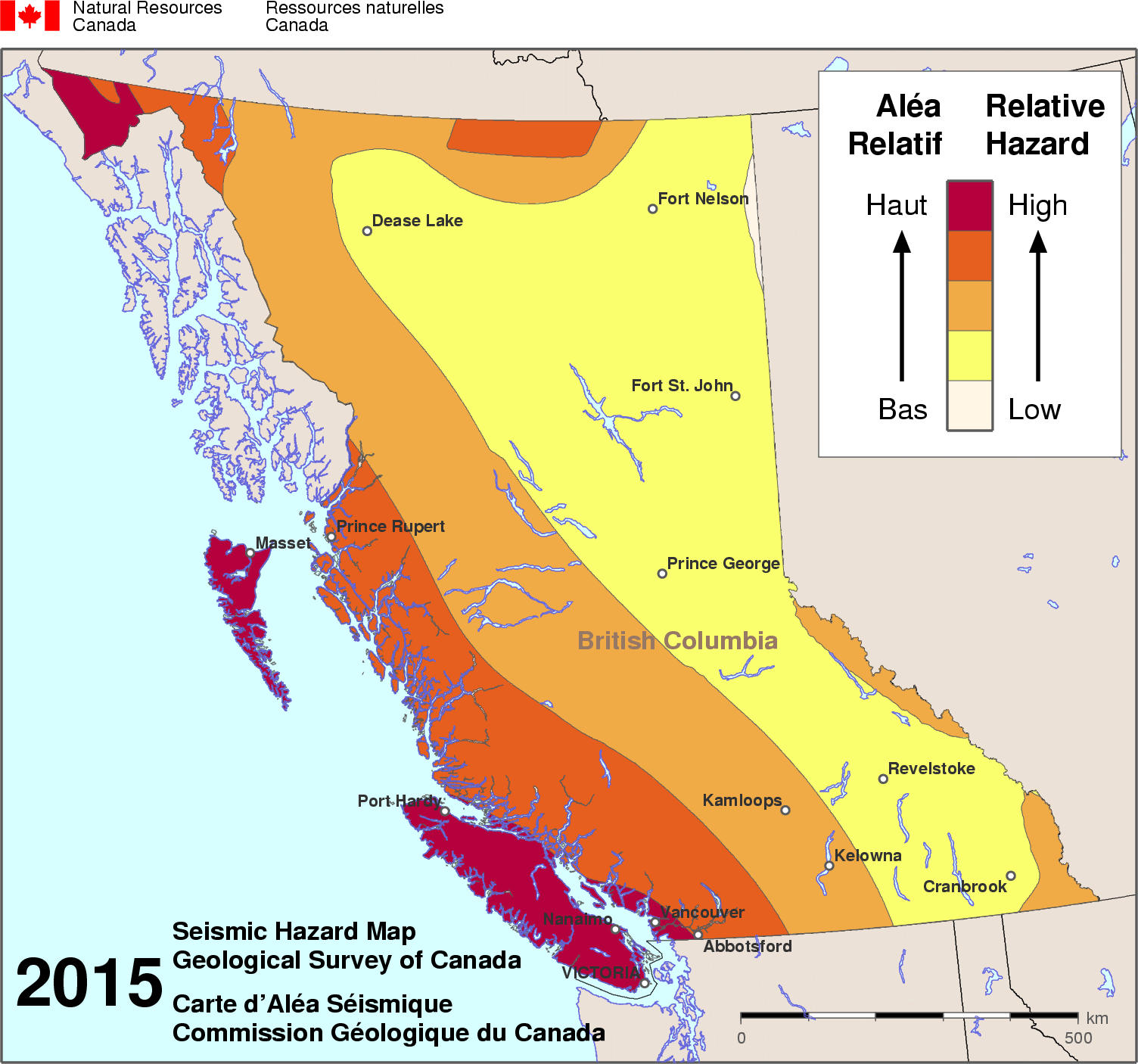 2015 NBCC seismic hazard map - BC