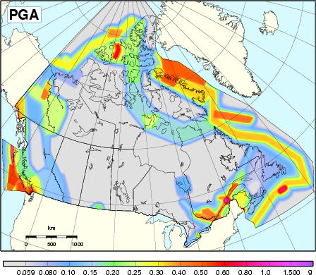 2005 NBCC seismic hazard map - PGA