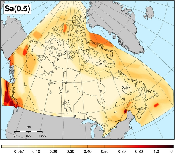 2010 NBCC seismic hazard map - Sa(0.5)