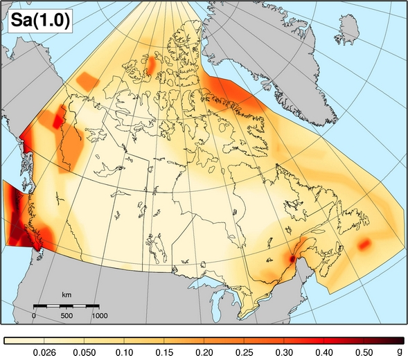 2010 NBCC seismic hazard map - Sa(1.0)