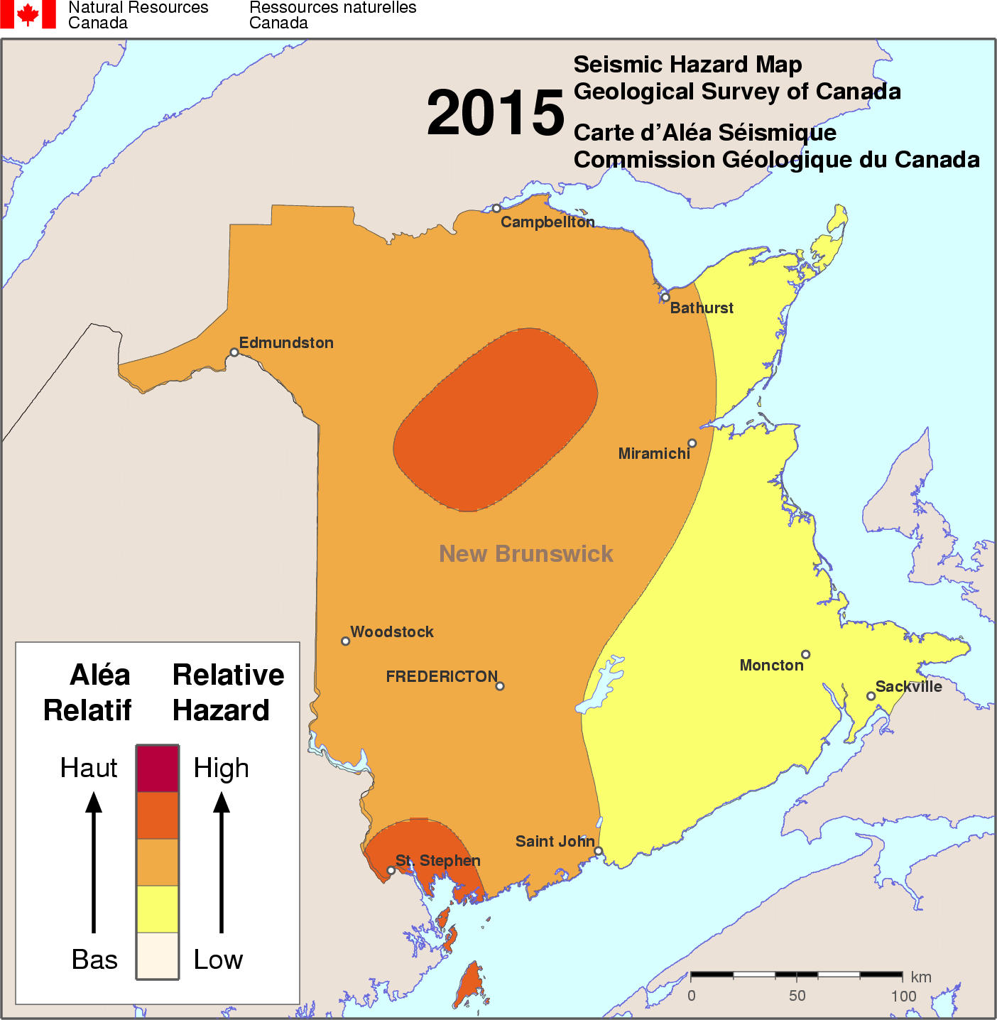 2015 NBCC seismic hazard map - NB