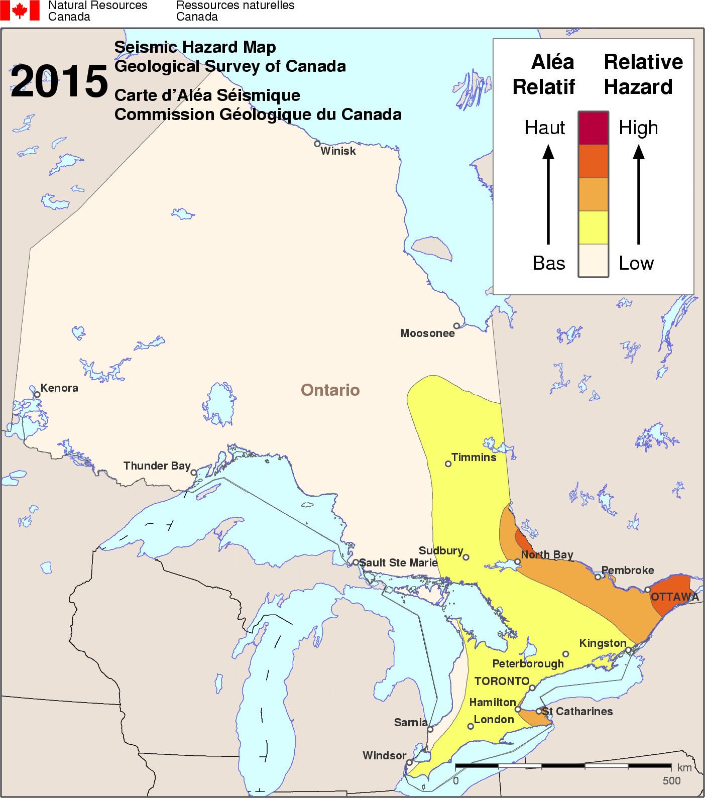 2015 NBCC seismic hazard map - ON