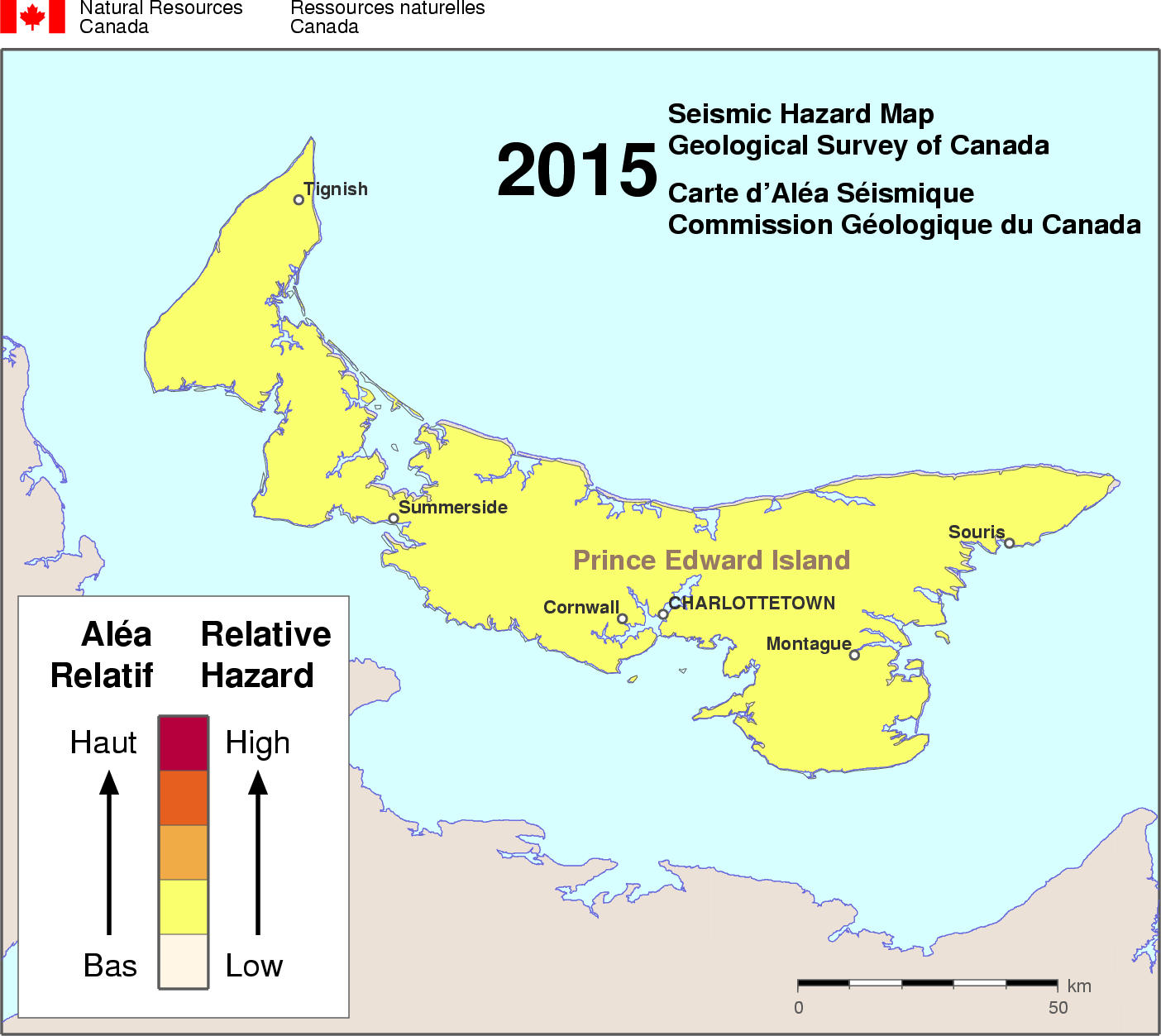 2015 NBCC seismic hazard map - PE