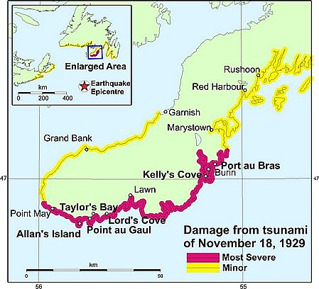 Detail map of damage to the Burin peninsula