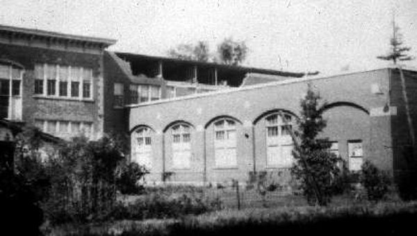 Damage to a school, exterior