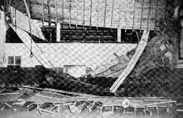 Damage to a school, interior