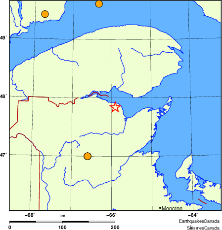 Map of historical earthquakes magnitude 5.0 and larger.  Details in the data table below
