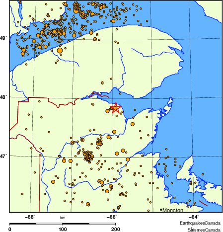 Map of earthquakes magnitude 2.0 and larger, 2000 - present