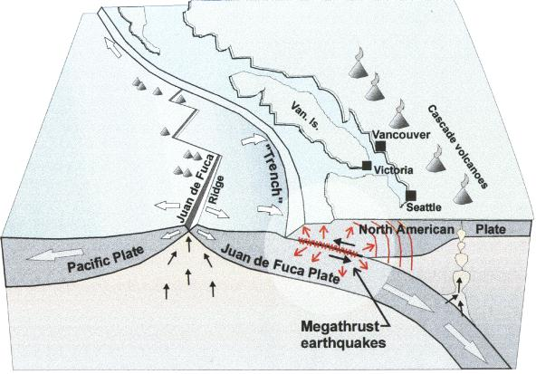 Seismic Zones In Western Canada - Us west coast vancouver island map